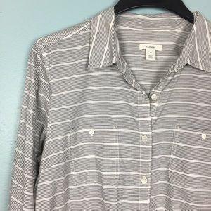 Caslon Long Sleeve Stripe Tunic Button Down